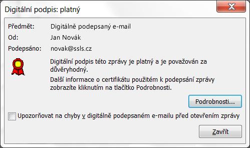 Ověření digitálního podpisu e-mailu